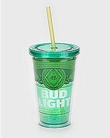 Green Bud Light Cup With Straw - 16 oz.