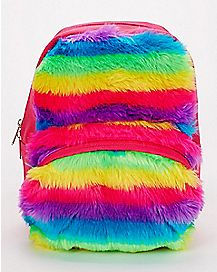 Rainbow Faux Fur Mini Backpack