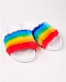 Faux Fur Fuzzy Rainbow Slide Sandals