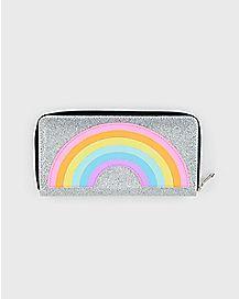 Silver Glitter Rainbow Zip Wallet
