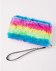 Faux Fur Rainbow Zipper Wallet