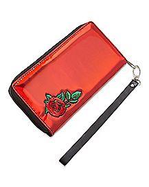 Red Rose Zip Wallet