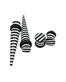 Black and White Striped Tapers and Plugs