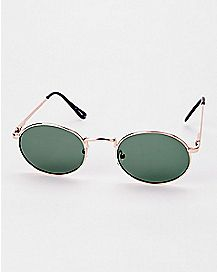 Dark Green Round Glasses