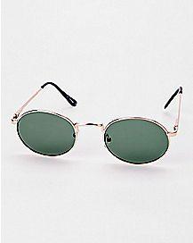 Dark Green Round Glasses