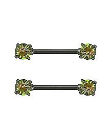 Black Rainbow Stone Barbell Nipple Rings - 14 Gauge