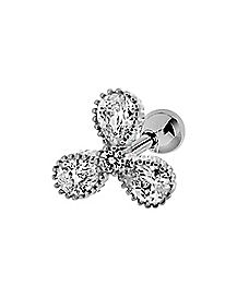 Triple Flower CZ Cartilage Earring - 16 Gauge