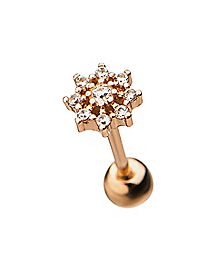 Rose Goldplated Flower Cartilage Earring - 18 Gauge