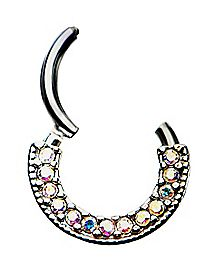 Gem Clicker Septum Ring - 16 Gauge