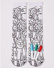 DIY Color Rick and Morty Crew Socks
