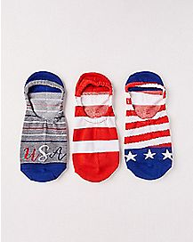 Red White and Blue Americana No Show Socks - 3 Pair