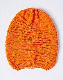 Orange Ribbed Slouchy Beanie Hat