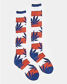 Americana Weed Leaf Knee High Socks