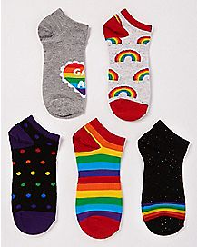 Rainbow No Show Socks - 5 Pair