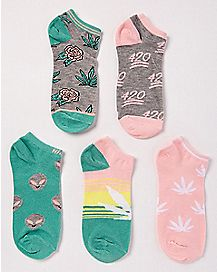 Multi-Pack Pot Leaf No Show Socks - 5 Pair