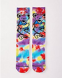 Bear Tie Dye Grateful Dead Crew Socks