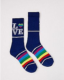Rainbow Love Crew Socks