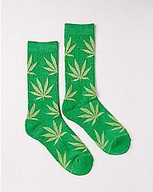 Weed Leaf Crew Socks