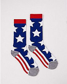 Red White and Blue Americana Crew Socks