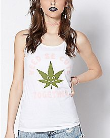 Weed  Leaf Be Cute Together Tank Top