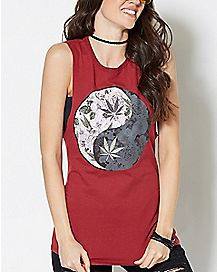 Floral Weed Leaf Yin and Yang Tank Top