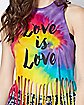 Fringed Tie Dye Love Is Love Tank Top
