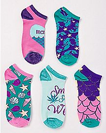 Pot Leaf Mermaid Ankle Socks - 5 Pair