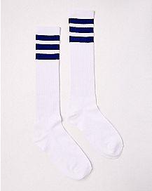 Blue and White Knee High Socks