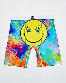 Pot Leaf Smile Tie Dye Boxers