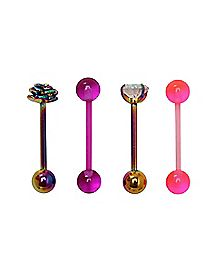 Rainbow Multi-Pack Gem Barbells 4 Pack - 14 Gauge