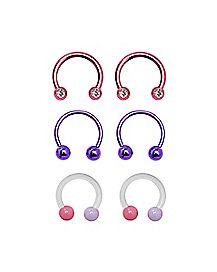 Multi-Pack Pink Gem Horseshoe Rings 3 Pair - 14 Gauge