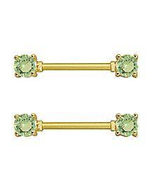 Green CZ Barbell Nipple Rings 1 Pair - 14 Gauge