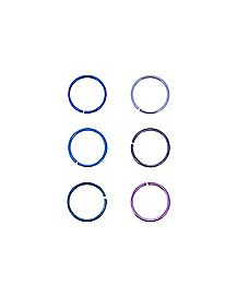 Purple and Blue Seamless Nose Rings 6 Pack - 20 Gauge