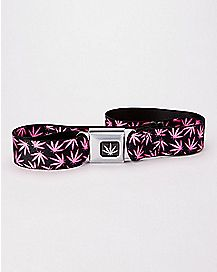 Pink Weed Leaf Seatbelt Belt
