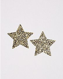 Glitter Gold Star Nipple Pasties