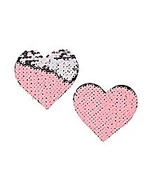 Neon Pink and Silver Flip Sequin Heart Nipple Pasties
