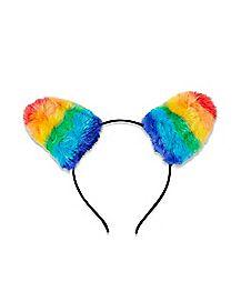 Faux Fur Rainbow Cat Ear Headband