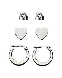 Multi-Pack Stud and Hoop Earrings - 3 Pair