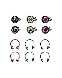 Multi-Pack Stud Earrings and Horseshoe Rings 6 Pair - 18 Gauge