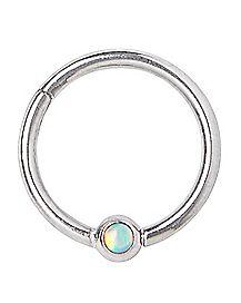 Opal-Effect Hinged Captive Ring - 16 Gauge