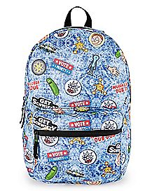 Faux Patches Rick and Morty Backpack