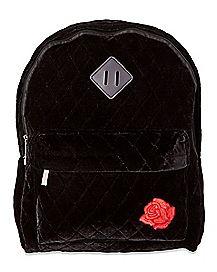 Quilted Rose Velvet Backpack