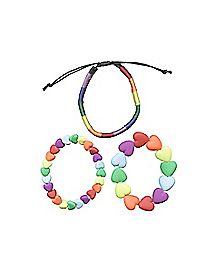 Rainbow Heart Bracelets - 3 Pack