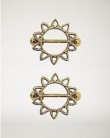 Goldtone Flower Nipple Shields 1 Pair - 14 Gauge