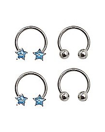 Multi-Pack Star Horseshoe Rings 2 Pair - 16 Gauge
