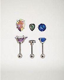 Multi-Pack CZ Cartilage Earrings 3 Pack - 18 Gauge