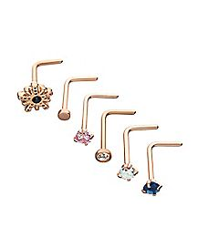 Rosegold Plated CZ L Bend Nose Rings 6 Pack - 20 Gauge