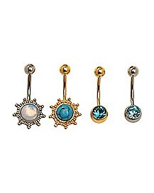 Multi-Pack Plated Sun CZ Belly Rings 4 Pack - 14 Gauge