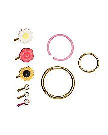Multi-Pack CZ Flower Stud Nose Rings and Hoop Nose Rings 9 Pack - 20 Gauge