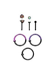 Multi-Pack Ombre Nose Rings 6 Pack - 20 Gauge